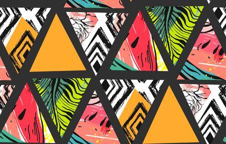 Hand getrokken vector abstracte ongebruikelijke zomer decoratie collage naadloze patroon met watermeloen, Azteekse en tropische palm bladeren motief geïsoleerd. Stock Illustratie
