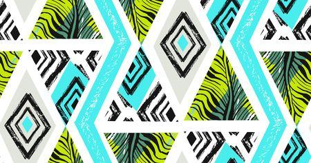 Hand getrokken vector abstracte uit de vrije hand geweven naadloze tropische patrooncollage met gestreept motief, organische die texturen, driehoeken op witte achtergrond worden geïsoleerd.