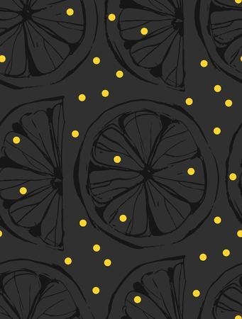 Hand drawn vector abstract unusual summer time seamless pattern with lemon slice and freehand texture isolated on black background. Illustration