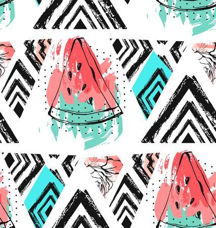 Vecteur dessiné à la main abstraite d'été inhabituel temps décoration collage modèle sans couture avec motif de feuilles de palmier pastèque, aztèque et tropicales isolé. Banque d'images - 84956404