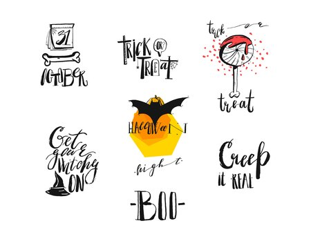 Hand drawn vector abstract handwritten modern calligraphy Halloween quotes,signs,logo,icons,illustrations,elements collection set isolated on white background