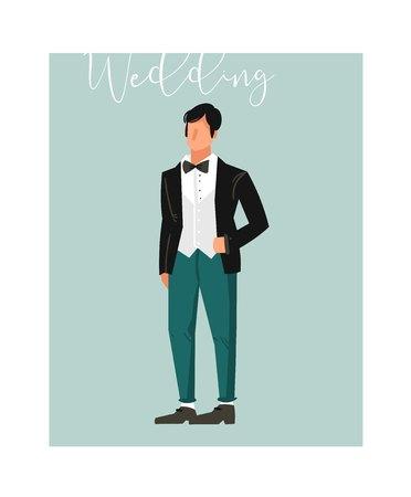 手描画ベクトル抽象漫画結婚式新郎の図要素青の背景に分離