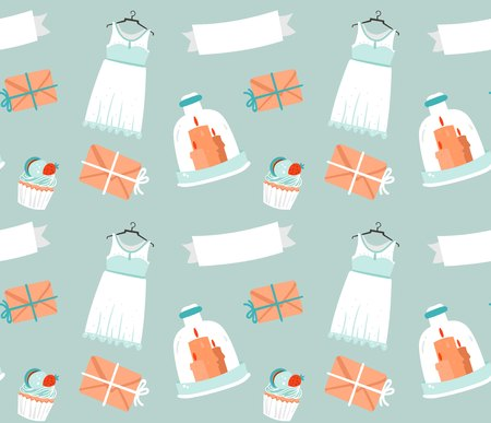 Hand drawn vector cartoon rustic sketched wedding elements seamless pattern decoration isolated on blue background.