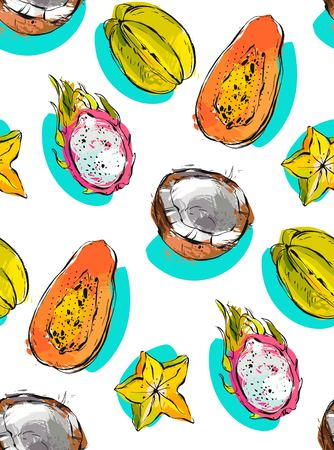 srilanka: Hand drawn vector abstract freehand textured unusual seamless pattern with exotic tropical fruits papaya,dragon fruit,coconut and carambola isolated on white background. Illustration