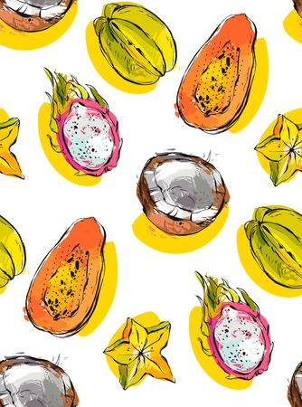 Hand drawn vector abstract freehand textured unusual seamless pattern with exotic tropical fruits papaya,dragon fruit,coconut and carambola isolated on white background Stok Fotoğraf - 86189169