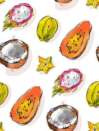 Hand getrokken vector abstract uit de vrije hand geweven ongebruikelijk naadloos patroon met exotische tropische vruchten papaja, draakfruit, kokosnoot en carambola die op witte achtergrond wordt geïsoleerd