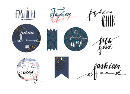 Hand drawn vector template collection with handwritten lettering phases New York fashion week and fashion chik,banners,posters,stickers,sign and design elements for fashion blog or show.
