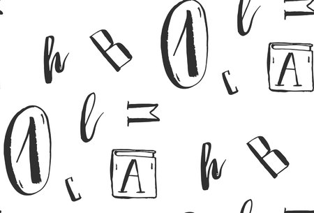 手には、白と黒の色で抽象的なベクトル文字でシームレスなパターンを創造的なフリーハンド インクが描画されます。