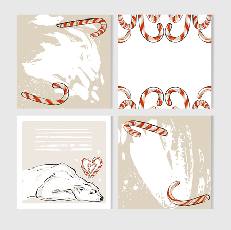 Hand made vector abstract Merry Christmas greeting cards set with cute xmas polar bear characters in winter clothing and candy canes. Illustration