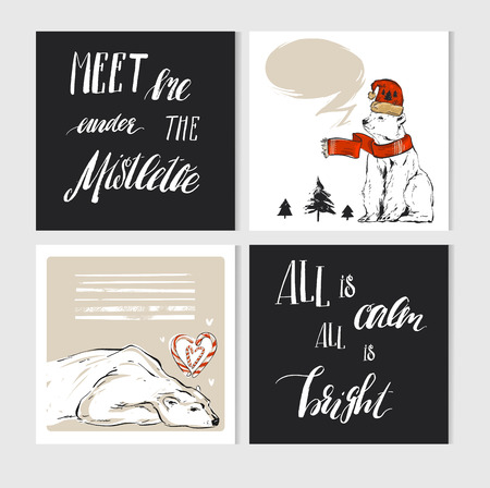 Hand made vector abstract Merry Christmas greeting cards set with cute xmas polar bear characters in winter clothing and modern calligraphy.
