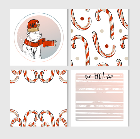 Hand made vector Merry Christmas greeting cards set with cute xmas polar bear characters in winter clothing and candy canes in pastel colors isolate on white background.