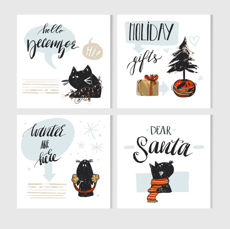Hand made vector abstract Merry Christmas greeting card set with cute xmas black cats character in winter clothing and modern Xmas calligraphy phases isolated on white background.