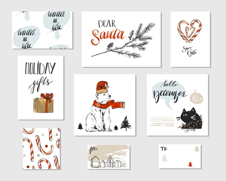 Collection of different hand made vector abstract Merry Christmas greeting card set with polar bear,candy canes,Christmas tree brunch,black funny cat,gift boxes and modern Xmas calligraphy phases. Illustration