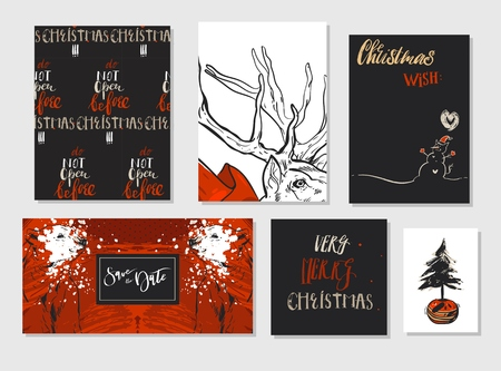 Collection of different hand made vector abstract Merry Christmas greeting card set with polar bear,Christmas tree,deer and modern Xmas calligraphy phases.