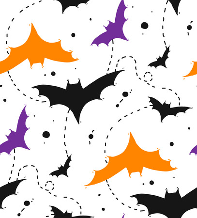 Hand drawn Seamless Halloween vector pattern with colors bats isolated on white background.