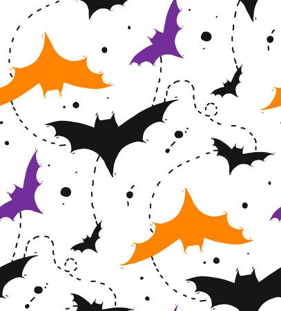 손으로 그린 색 박쥐 흰색 배경에 고립 된 완벽 한 할로윈 벡터 패턴.
