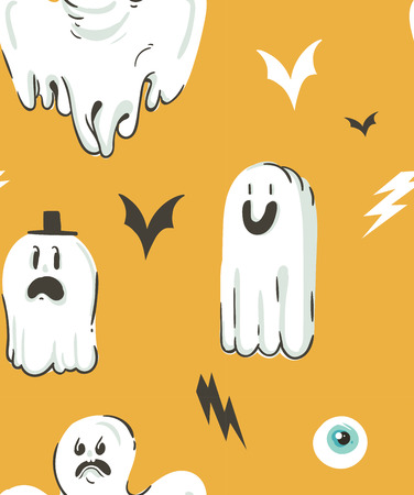 Hand drawn vector abstract cartoon Happy Halloween illustrations collection seamless pattern with different funny ghosts decoration elements isolated on orange background. Illustration