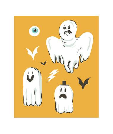 손으로 그린 벡터 추상 만화 해피 할로윈 삽화 세트 다른 재미 유령 장식으로 설정합니다.
