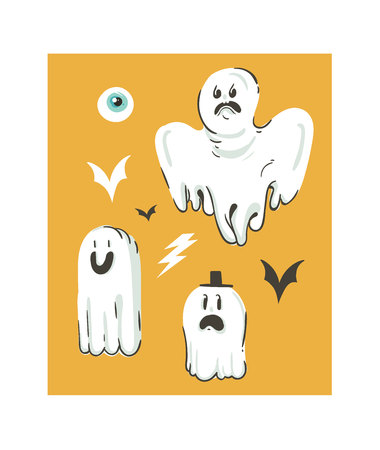 Hand drawn vector abstract cartoon Happy Halloween illustrations collection set with different funny ghosts decoration. Illusztráció