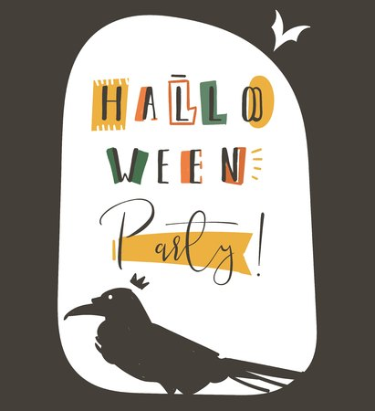 Hand drawn vector abstract cartoon Happy Halloween illustration party poster with different decoration elements,raven,and modern calligraphy phase Halloween party isolated on white background. 向量圖像