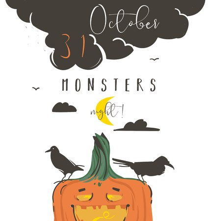 Hand drawn vector abstract cartoon Happy Halloween illustration poster with ravens,pumpkin,moon and modern calligraphy phase 31 october monsters night isolated on white background.