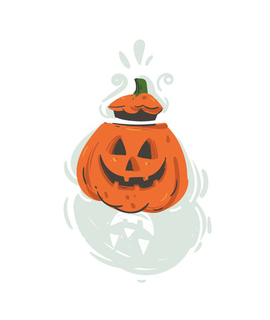 Hand drawn vector abstract cartoon Happy Halloween illustration with pumpkin lantern monster isolated on white background