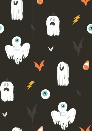 Halloween ghosts and bats pattern. Ilustração