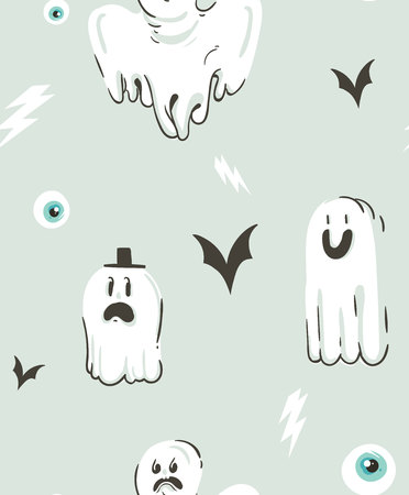 Halloween ghosts and bats pattern. Illustration