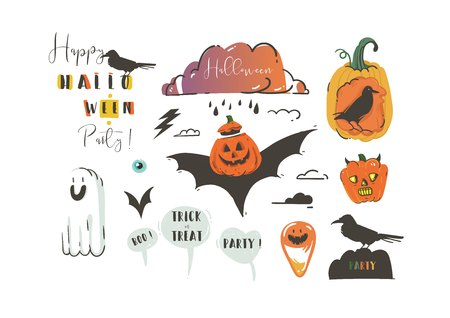 Hand drawn vector abstract cartoon Happy Halloween illustrations party design elements with ravens,bats,pumpkins,ghosts and modern calligraphy quotes isolated on white background Illustration