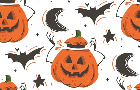 Hand drawn vector abstract cartoon Happy Halloween illustrations seamless pattern with bats,pumpkins,moon and stars isolated on white background Illustration