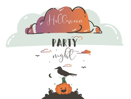 Hand drawn vector abstract cartoon Happy Halloween illustrations party poster card with ravens,bats,pumpkins on cemetery and modern calligraphy Halloween party night isolated on white background Illusztráció