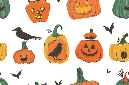 Hand drawn vector abstract cartoon Happy Halloween illustrations seamless pattern with pumpkins emoji horned lanterns monsters,bats and ravens isolated on white background.