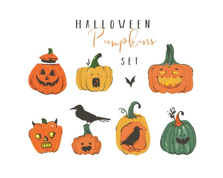 Hand drawn vector abstract cartoon Happy Halloween illustrations elements collection set with pumpkins emoji horned lanterns monsters,bats and ravens isolated on white background