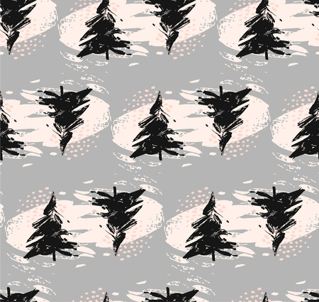 Hand drawn vector simple trendy abstract seamless Christmas tree decoration background pattern dry brush painted in pastel colors isolated on grey background