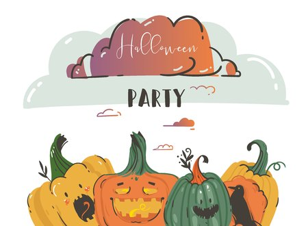 Hand drawn vector abstract cartoon Happy Halloween illustrations party poster with ravens,pumpkins and modern calligraphy Halloween Party isolated on white background.