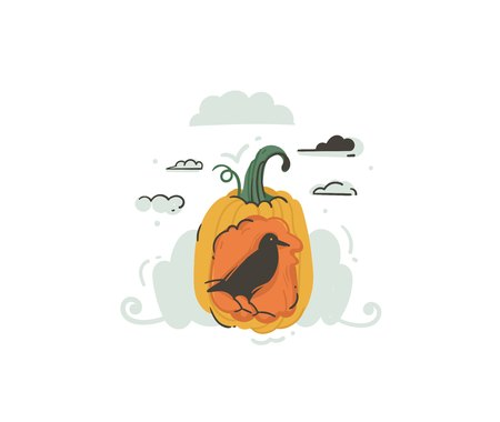 Hand drawn vector abstract cartoon illustration design element with raven,pumpkin isolated on white background