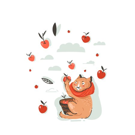Hand drawn vector abstract greeting cartoon autumn illustration with cute cat character collected apple harvest with berries,leaves and branches isolated on white background. Illustration
