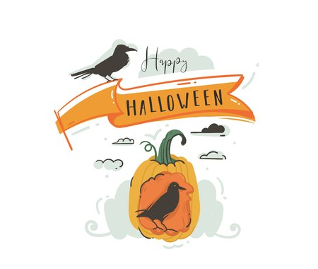 Hand drawn vector abstract cartoon Happy Halloween illustrations party design elements with ravens,pumpkin and modern calligraphy quote Happy Halloween isolated on white background Ilustração