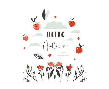 Hand drawn vector abstract greeting cartoon autumn graphic decoration header with set of berries,leaves,branches,apple harvest and modern typography phase Hello Autumn isolated on white background