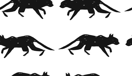 silueta de gato: Hand made scandinavian nordic black and white pattern with silhouette of black cat isolated on white background.Simple animal fabric pattern.Domestic animal motif.