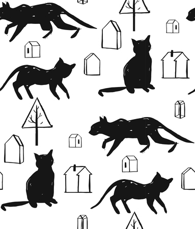 Hand made scandinavian nordic black and white pattern with silhouette of black cat and houses with trees isolated on white background.Simple animal fabric pattern.Domestic animal motif Illustration