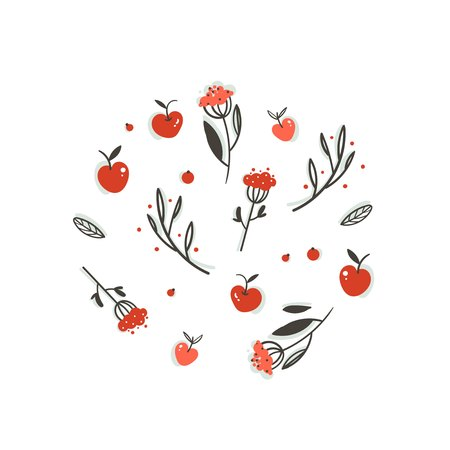 Hand drawn vector abstract greeting cartoon autumn graphic decoration elements set with berries,leaves,branches and apple harvest isolated on white background Illustration