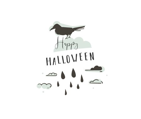 Hand drawn vector abstract cartoon Happy Halloween illustrations party design elements with raven and modern calligraphy quote Happy Halloween isolated on white background