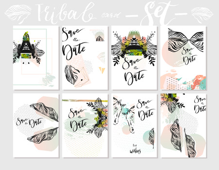 Hand made vector abstract graphic textured Save the Date tribal tropical exotic Valentines day cards set collection in pastel colors isolated on white background.Unusual cards for Business,journaling.