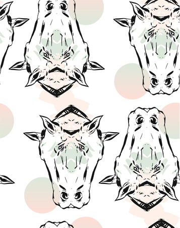 Hand drawn vector lined abstract ink graphic horses mirror heads seamless pattern isolated on white background.Minimalistic style.Unusual pattern.Wrapping papper.Fashion print.Bohemian style