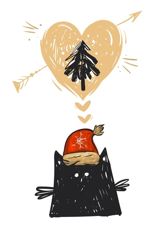 Hand drawn vector abstract Christmas card with illustration of black cat funny character in red Santa Claus hat,Christmas tree and heart isolated on white background.Design for journaling,postcard Illustration