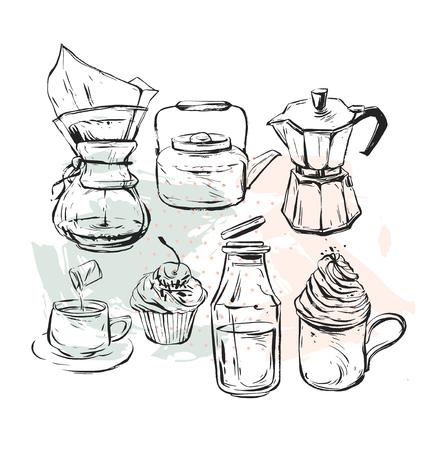 손으로 그린 벡터 그래픽 현실적인 커피 디자인 요소로 설정 커피 메이커, 찻 주전자, 우유, 간헐천 커피와 컵 케이크 흰색 배경에 고립 된 휘 핑된 크