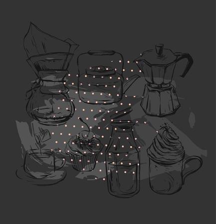 손으로 그린 벡터 그래픽 커피 요소를 현실적인 설정 커피 메이커, 찻 주전자, 우유, 간헐천 커피와 컵 케이크와 함께 휘 핑된 크림 유리 병 낯 짝 검은  일러스트
