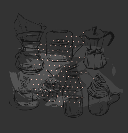 Hand drawn vector graphic realistic set with coffee design elements coffee maker,teapot,mug with whipped cream glass bottle with milk, geyser coffee and cupcakes isolated on black background Фото со стока - 87284739
