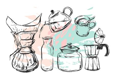 손으로 그린 벡터 그래픽 커피 요소를 현실적인 설정 커피 메이커, 찻 주전자, 낯 짝, 유리 병 우유, 간헐천 커피 흰색 배경에 고립. 비즈니스를위